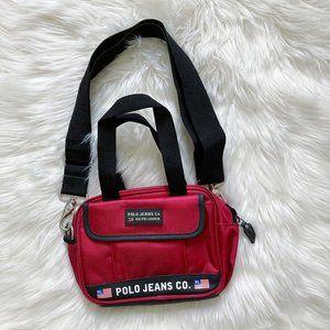 VTG Polo Jeans Co USA Flag Logo Spell Out Bag